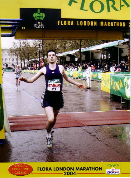 Crossing the finish line 2004
